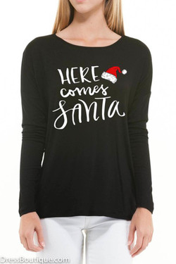 Here Comes Santa, Black Long Sleeve Graphic T-Shirt