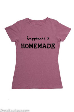 Happiness is Homemade Pink Graphic T-Shirt