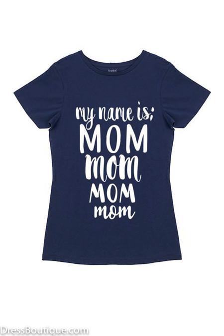 Mom Navy Graphic T-Shirt