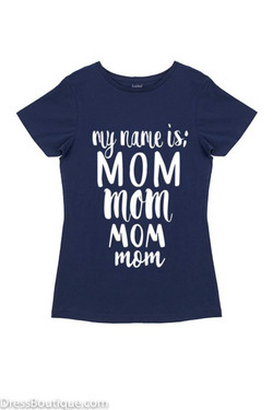 Mom Navy Graphic T-Shirt