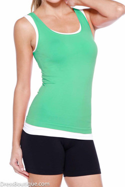 Perfect Fit Green Racerback  Workout Top