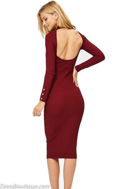 Burgundy Scoop Back Ribbed Fitted Dress