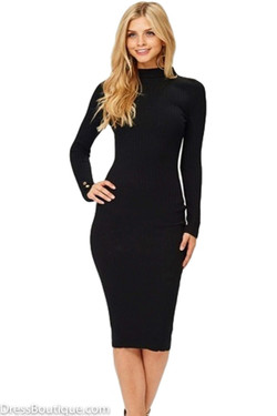 Black Scoop Back Knitted  Bodycon Dress