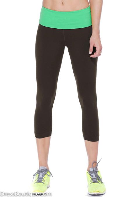 Neon Green Trim Flex Fit Yoga Pants