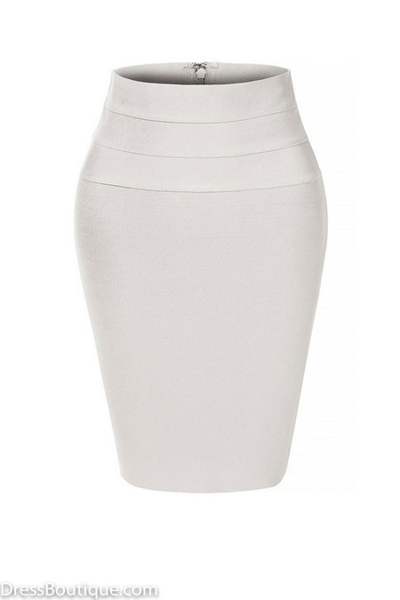 Ivory Midi Bodycon Pencil Skirt