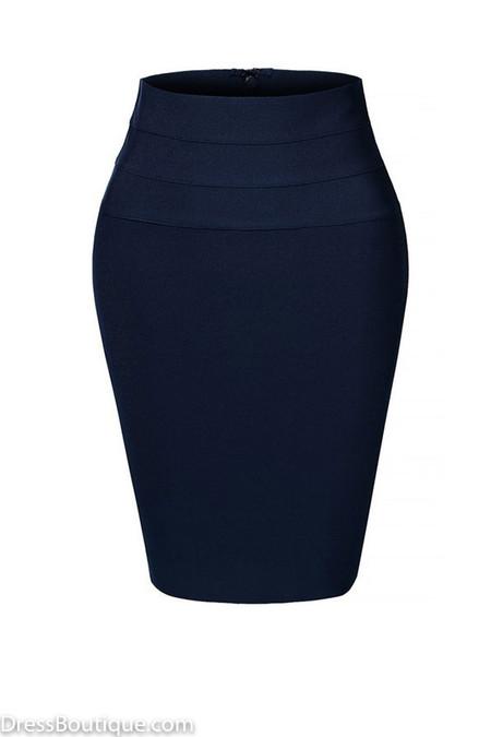 Navy Midi Bodycon Pencil Skirt