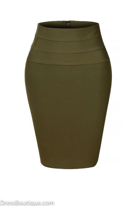 Olive Midi Bodycon Pencil Skirt