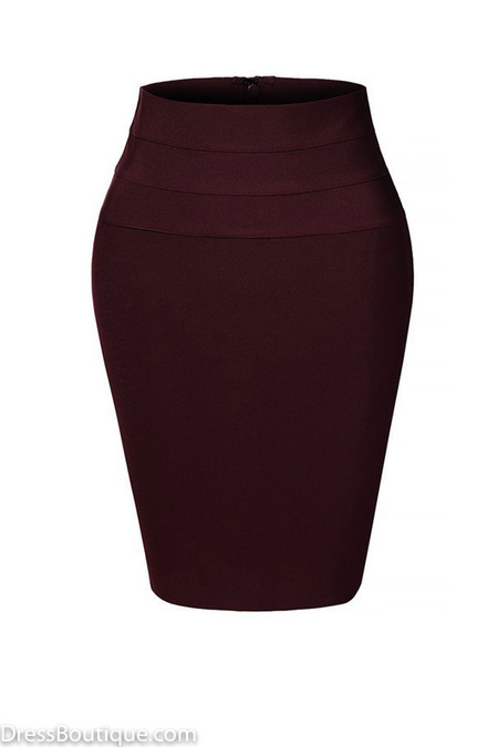 Maroon Midi Bodycon Pencil Skirt