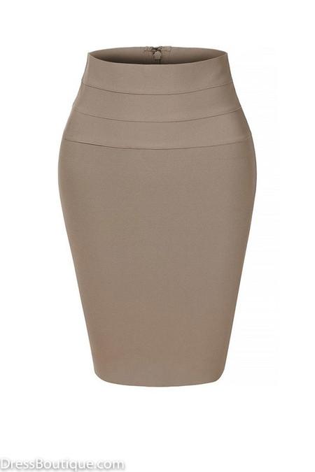 Taupe Midi Bodycon Pencil Skirt
