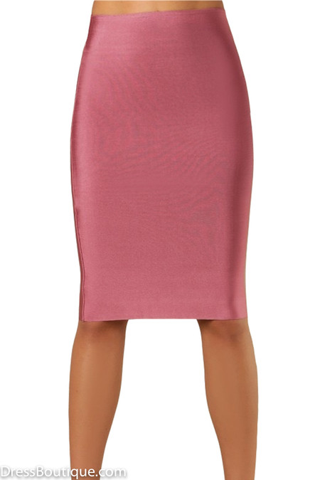 Luxe Vintage Pink Bodycon Bandage Skirt