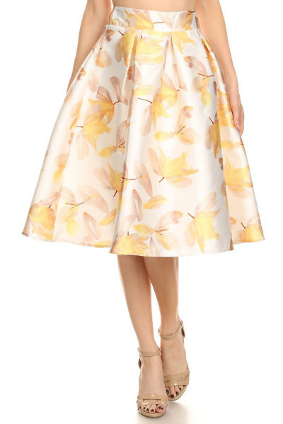 Soft Yellow Floral Skirt