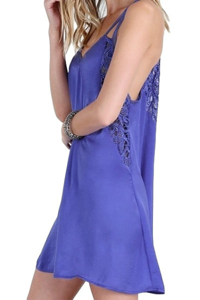 Blue Lace Slip Dress