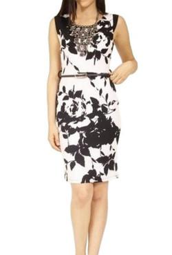 Black & White Midi Dress