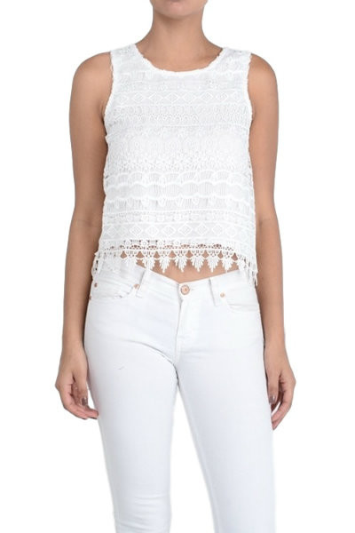 White Lace Sleeveless Blouse