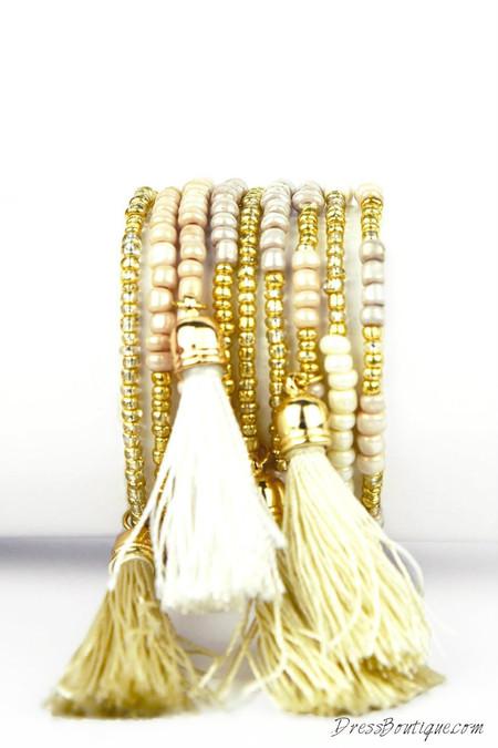 Beige Tassel Bracelet