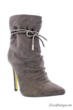 Grey Suede Stiletto Ankle Boot