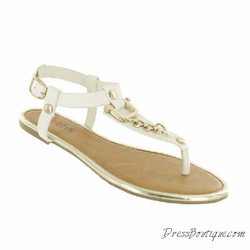Adoration Gold Link White Sandals