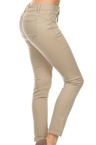 Solid Cropped Ankle Khaki Pants