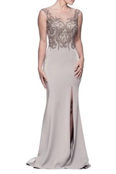 Shimmering Silver Evening Dress