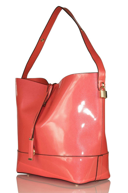 Elegant Coral Patent Shoulder Bag