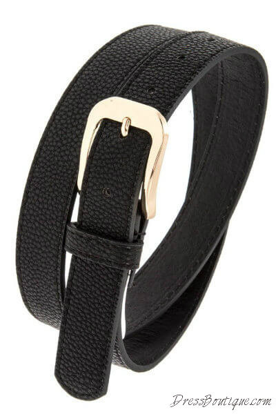 Black Textured Wide Buckle Belt