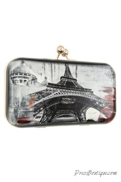 Paris Print Solid Clutch