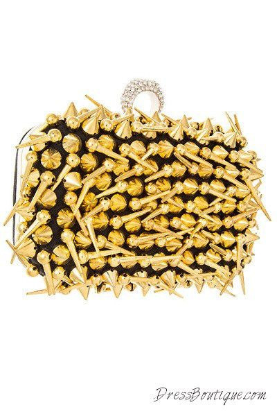 Spiked Gold Solid Clutch