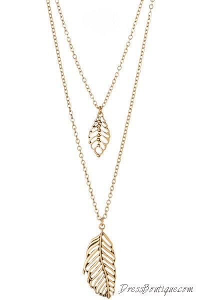 Leaf Pendant Double Necklace