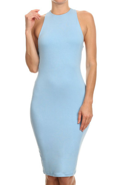 Blue Sleeveless Bodycon Dress