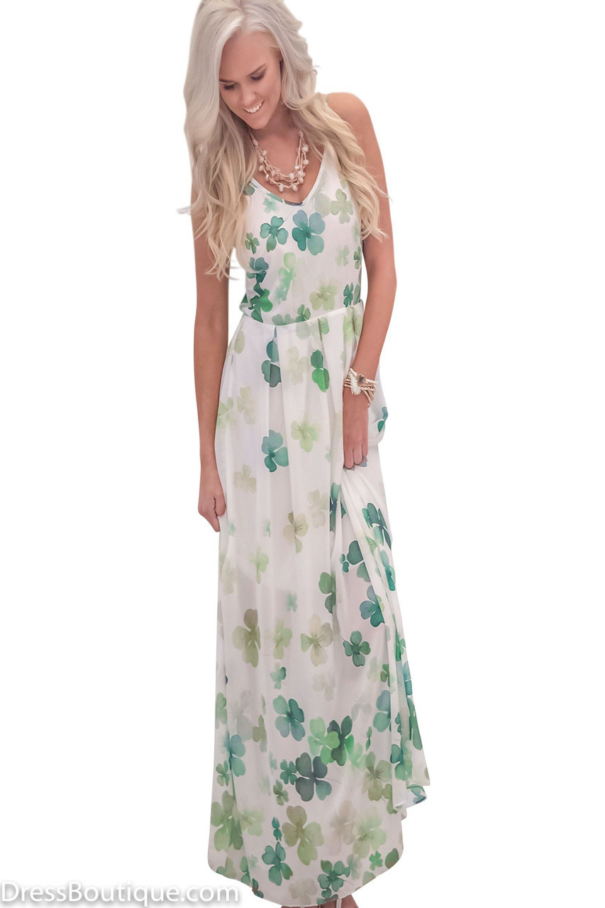 Green Floral Maxi Dress Shop Women S Dresses