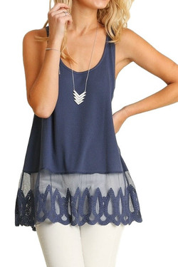 Textured Lace Trimmed Tank