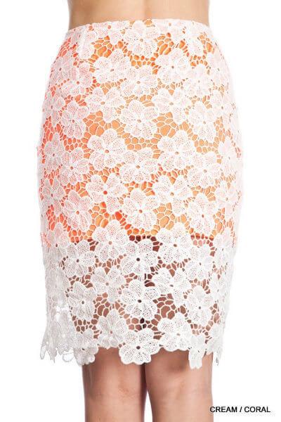 Lace Midi Pencil Skirt