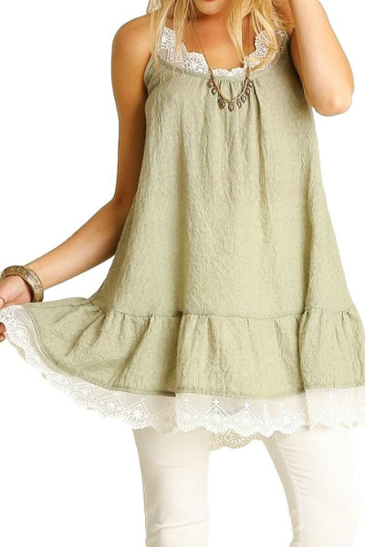 Sage Lace Trimmed Tunic