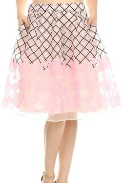 Pink Floral Midi Skirt