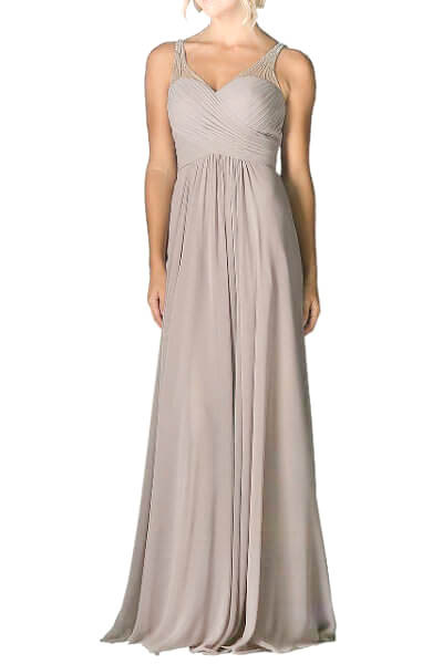 Beige Chiffon Evening Dress