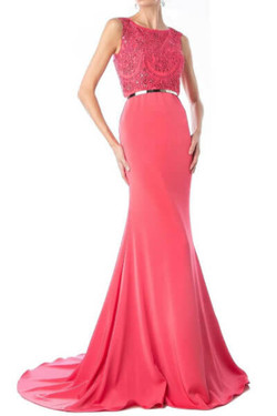 Coral Mermaid Evening Dress