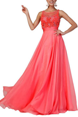 Red Chiffon Evening Gown