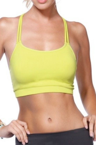 Double Cross Strap Yellow Sports Top