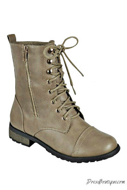 Taupe Boho Combat Boots