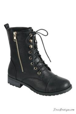 Black Boho Combat Boots