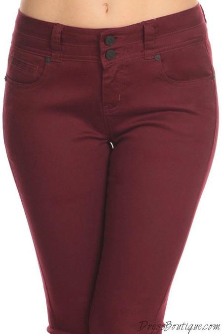 Burgundy Stretch Pants