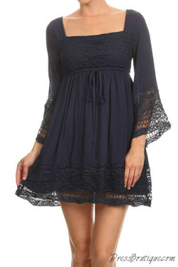 Navy Long Sleeve Lace Crochet Tunic