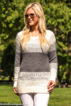 Grey Soft Knit Striped Sweater