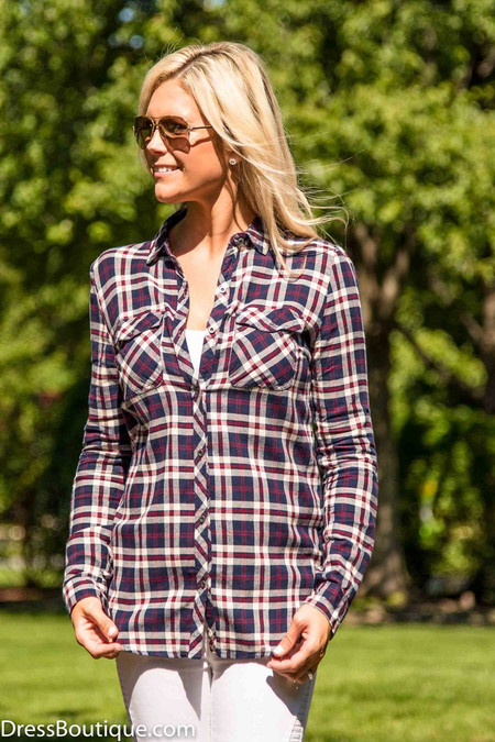 Casual Navy Plaid Shirt
