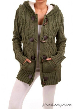 Olive Cable Knit Cardigan
