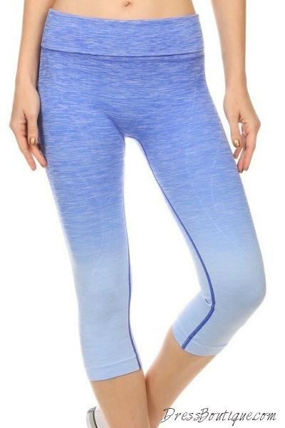 Blue Ombre Capri Workout Pants