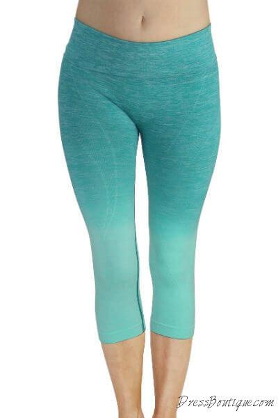 Aqua Ombre Capri Workout Pants