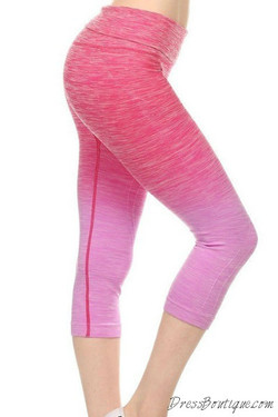 Pink Ombre Capri Workout Pants
