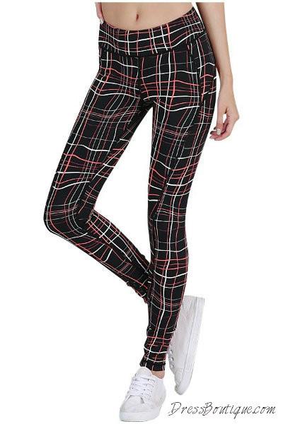 Black Pink Geometric Print Yoga Pants