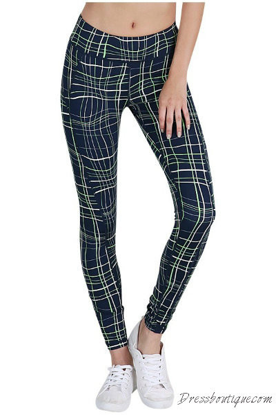Navy Green Geometric Print Yoga Pants